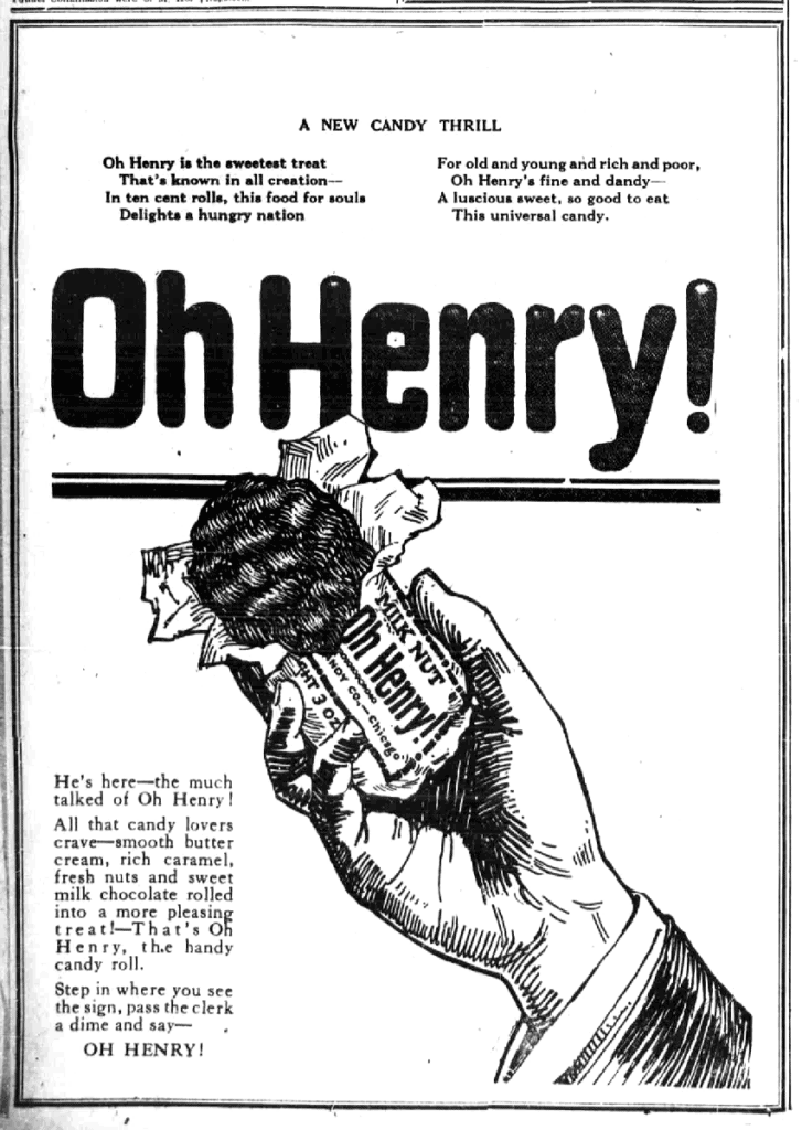 Oh Henry Newspaper ad